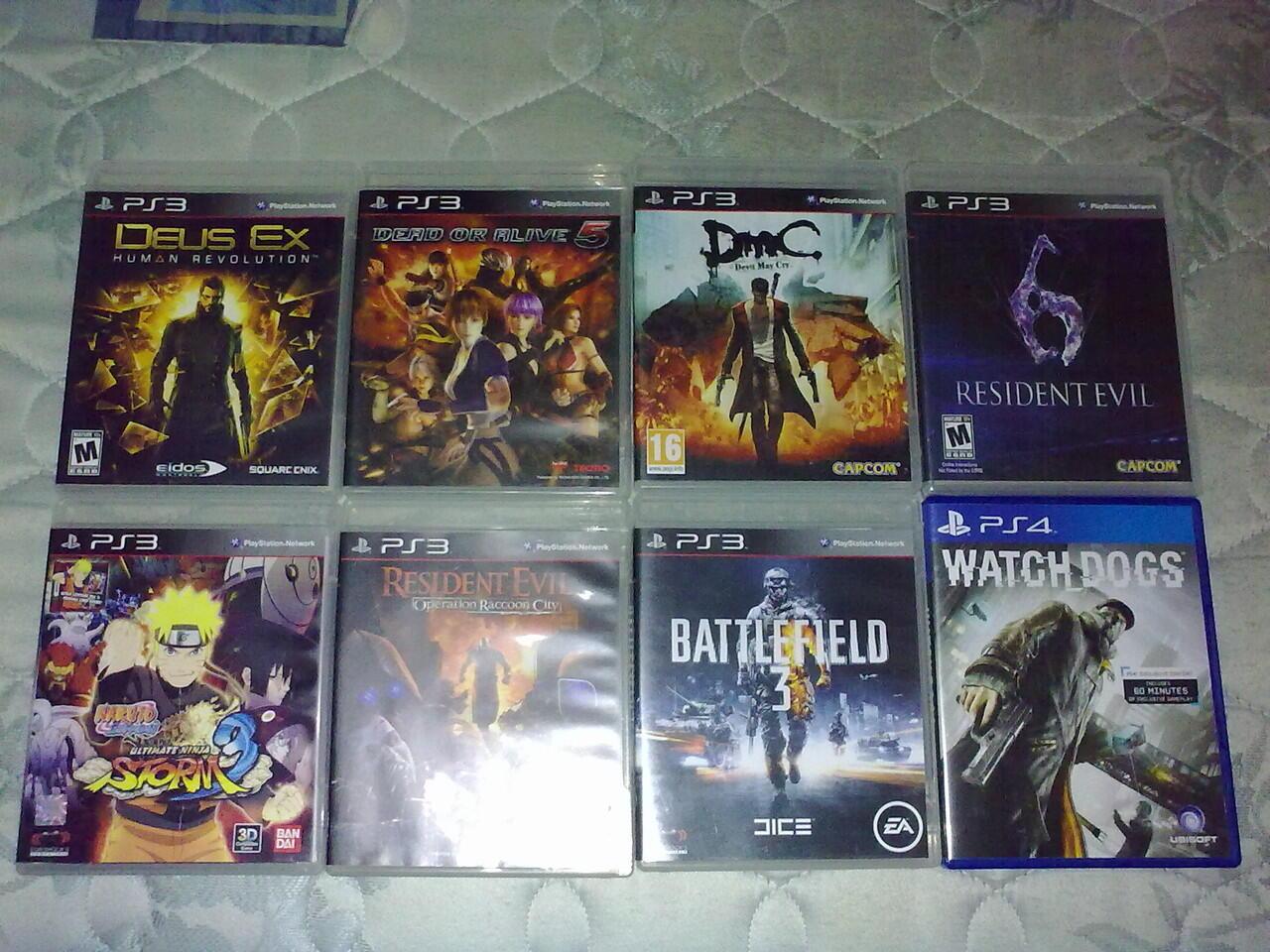 PS3 DMC5,DOA5,Resident Evil,Deus EX,Naruto,BF3 & PS4 Watchdogs