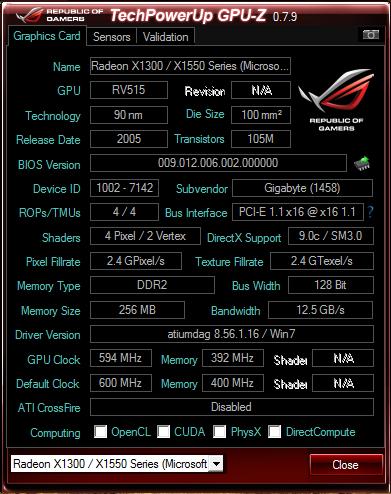 [VGA Card] GIGABYTE ATI RADEON X1550 (Batangan) [BANDUNG]