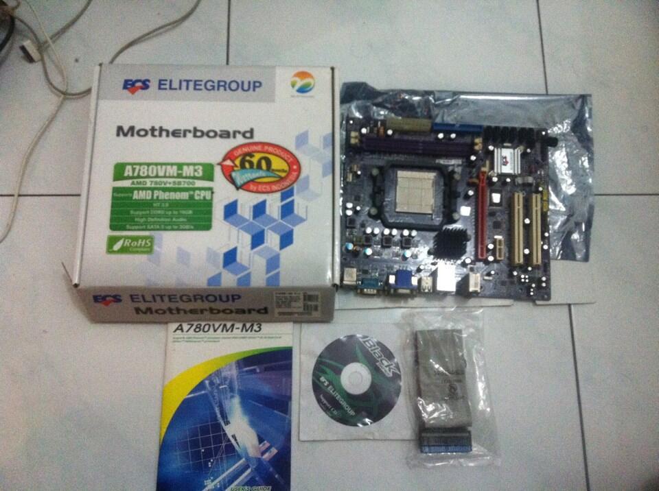 Motherboard ECS A780VM-M3 Am2+ (support phenom) 200rb