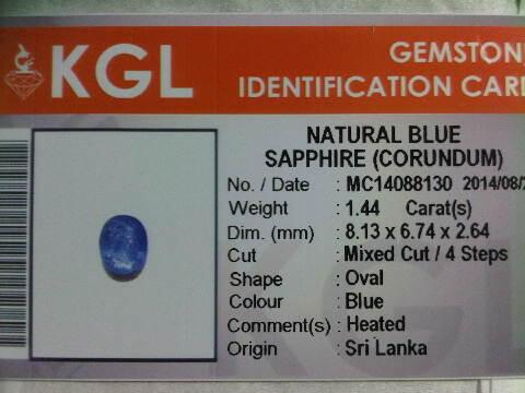 Blue Sapphire Ceylon No Heat 1,87 crt