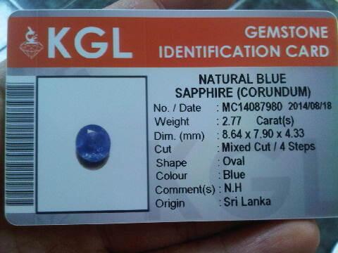 Blue Sapphire Ceylon NO HEAT 2,77 crt