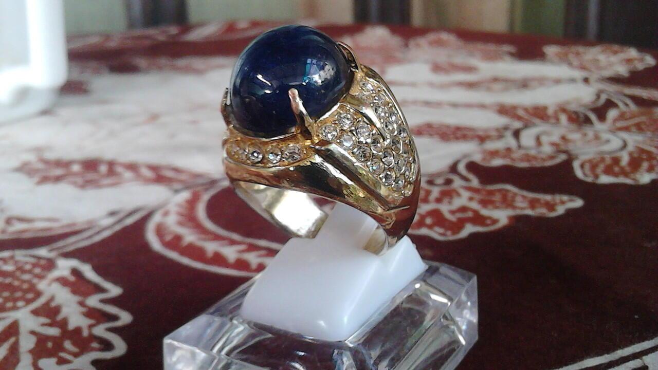 cincin batu Blue saphire afrika big size menawan