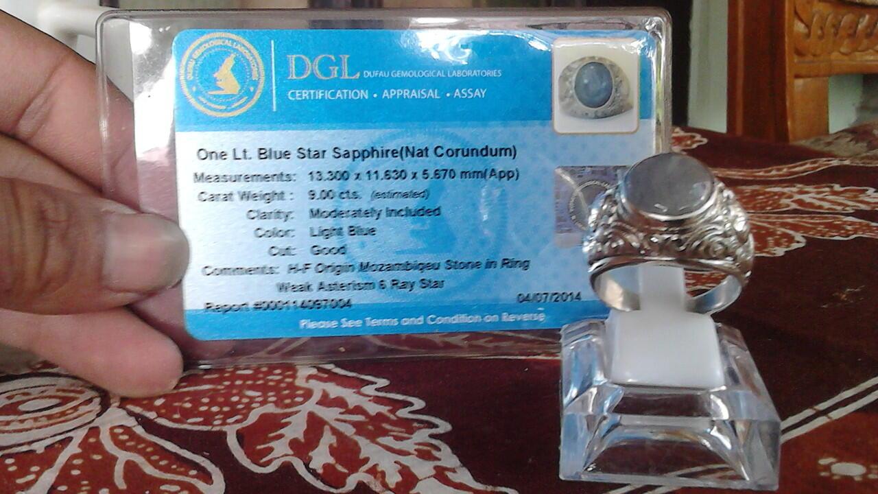 cincin batu Blue star sapphire with memo menawan