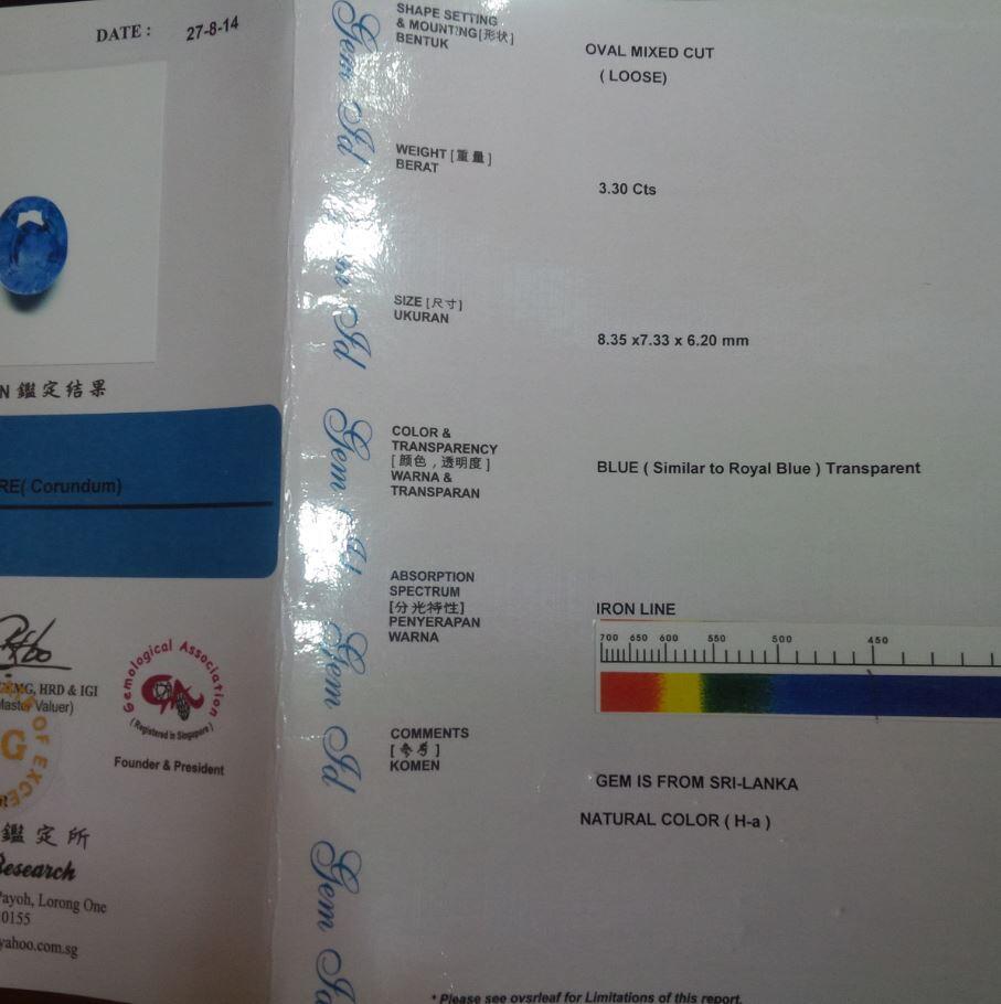 [PERMATA] Blue Sapphire Srilanka (Ceylon) 3.3ct 99% Clean Serti BIG