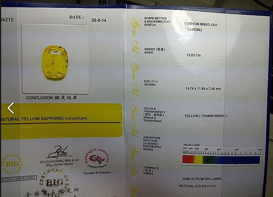 Yellow Sapphire Srilanka (Ceylon) 12 carat, luzter Top, 99% Clean