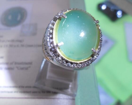 Natural Garut Chrome Chalcedony Langka, Bersih Free Silver Ring + Sertifikat GRI Lab