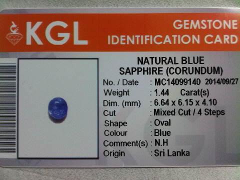 Blue Sapphire 1,44 crt No Heat