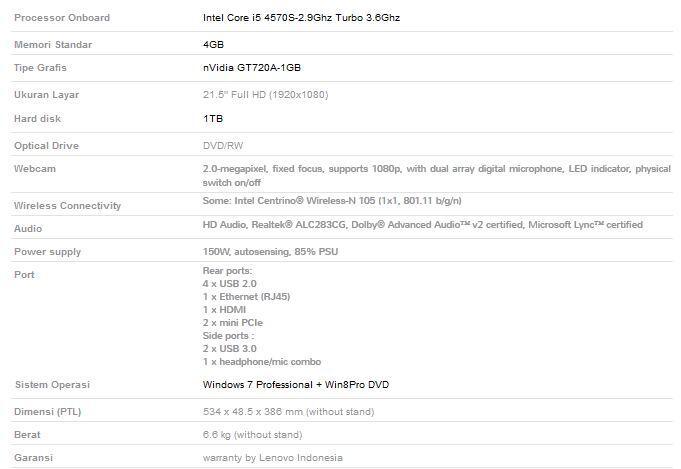 Lenovo Thinkcentre Edge All In One 93Z-21IF @KliknKlik M2M