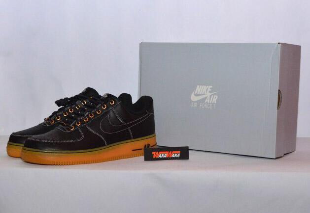 Sepatu Casual Nike Air Force 1, Black & Blue. 100% Original, Siap COD / Rekber