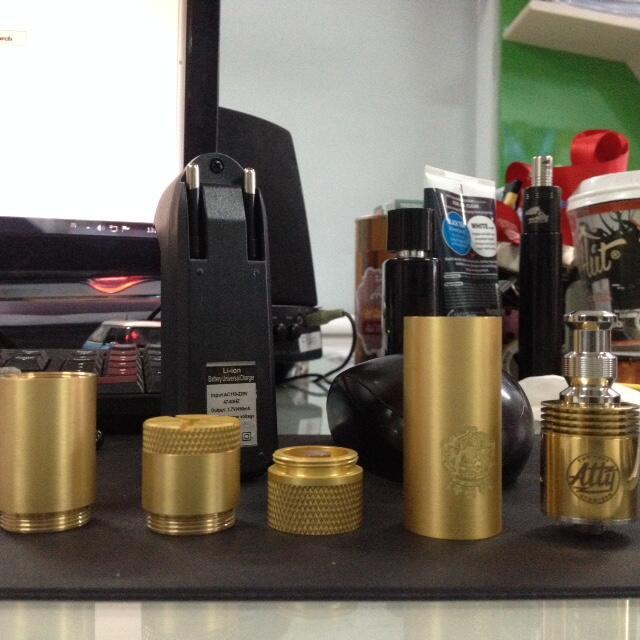 Mechanical Mod King Brass + TOBH ATTY + Battery Panasonic 3200mAH + Charger