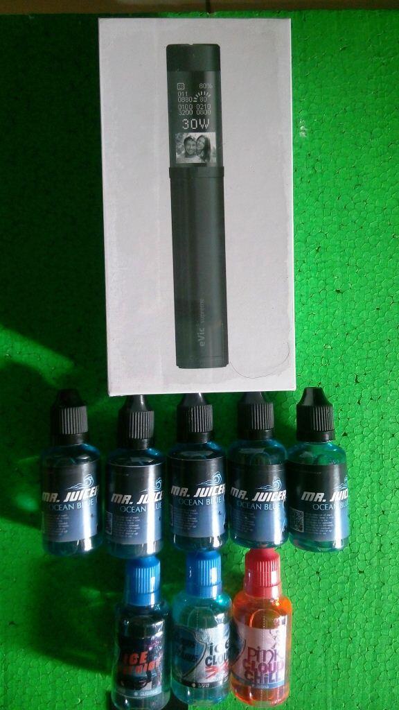 Evic supreme black new & premium liquid ocean blue , cloud of icarus