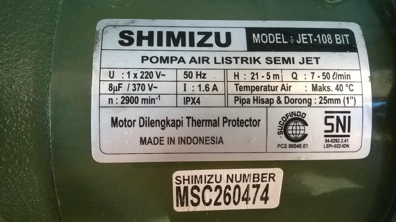 Jual Pompa Air Shimizu Jet-108 bit Lokasi Baleendah Kab. Bandung