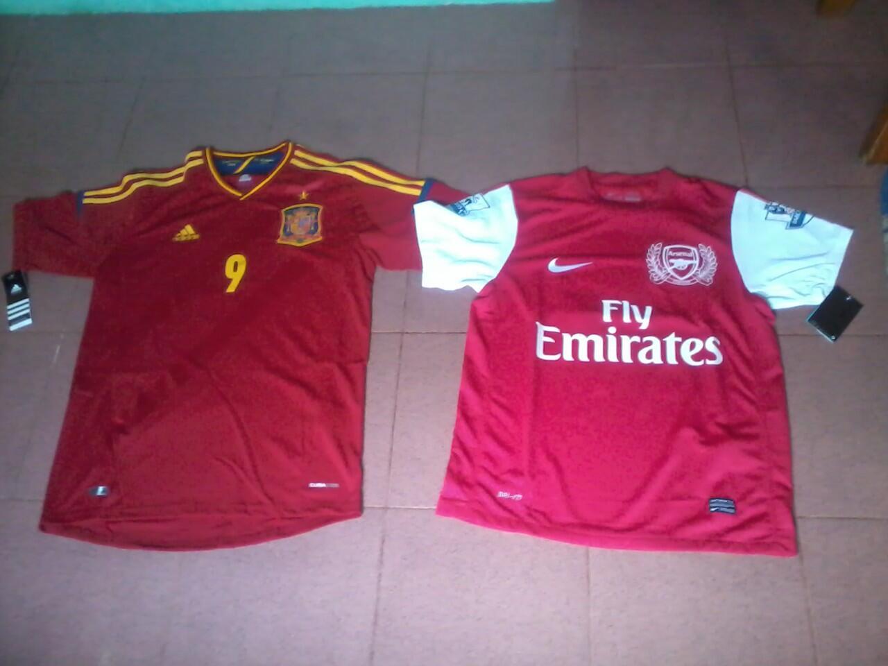 Jersey Spanyol Home Euro 2012 & Arsenal 2011/2012 (rare)