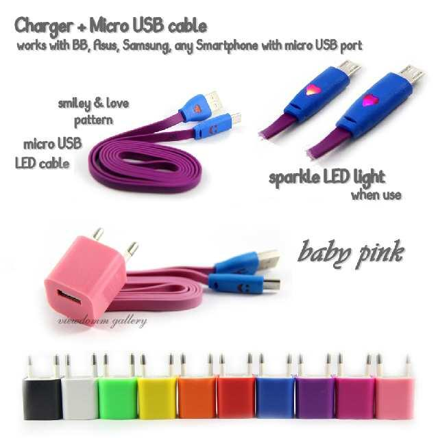 CHARGER WARNA WARNI + KABEL DATA WARNA MICRO USB