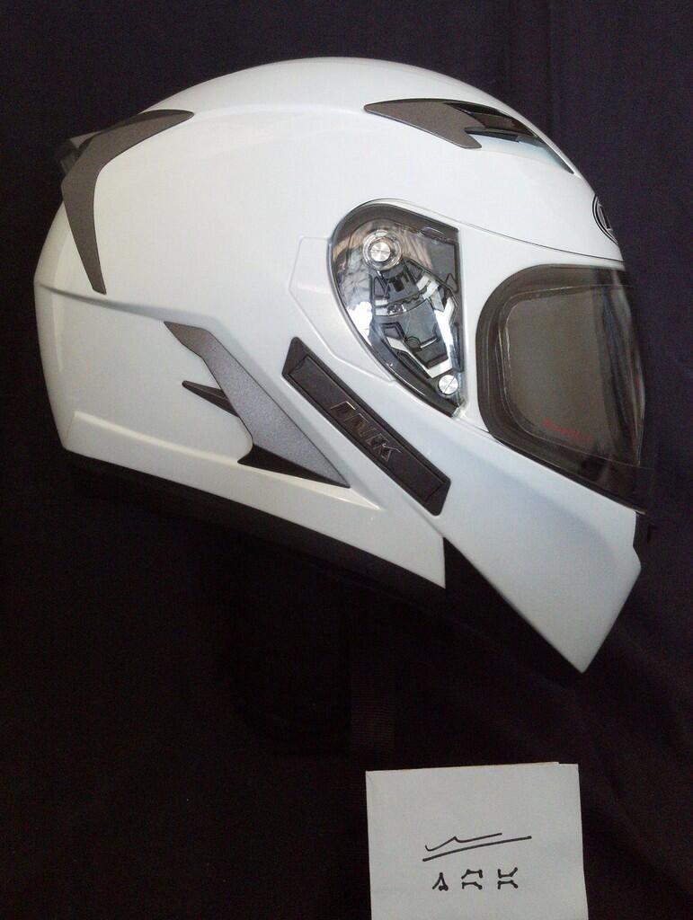 helm INK Duke?? white, full face, double-d ring & anti fog Raleri