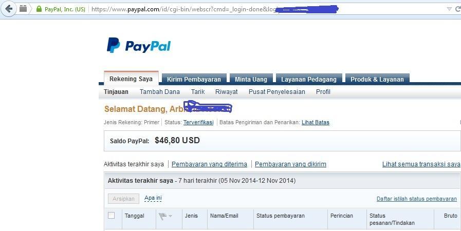 Balance PayPal LEGAL dan HALAL rate BCA