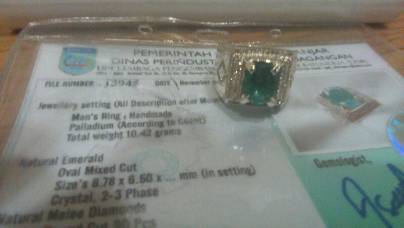 2 cincin palladium + zamrud tabur berlian 90 pc + blue sapphire tabur berlian 104 pc