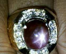Batu cincin Ruby Star perfect