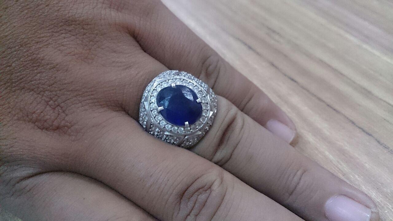 Blue Saphire ikatan cincin perak 13 gr