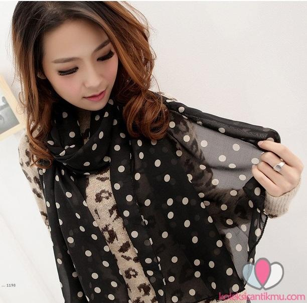 [39rb] Scarf Desain Vintage Girly & Polka-Dot