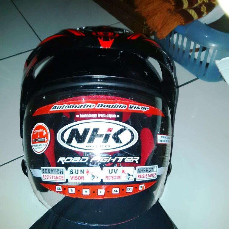 Helm NHK Predator Alien Double Visor warna merah, size XXL, 500ribu, Baru