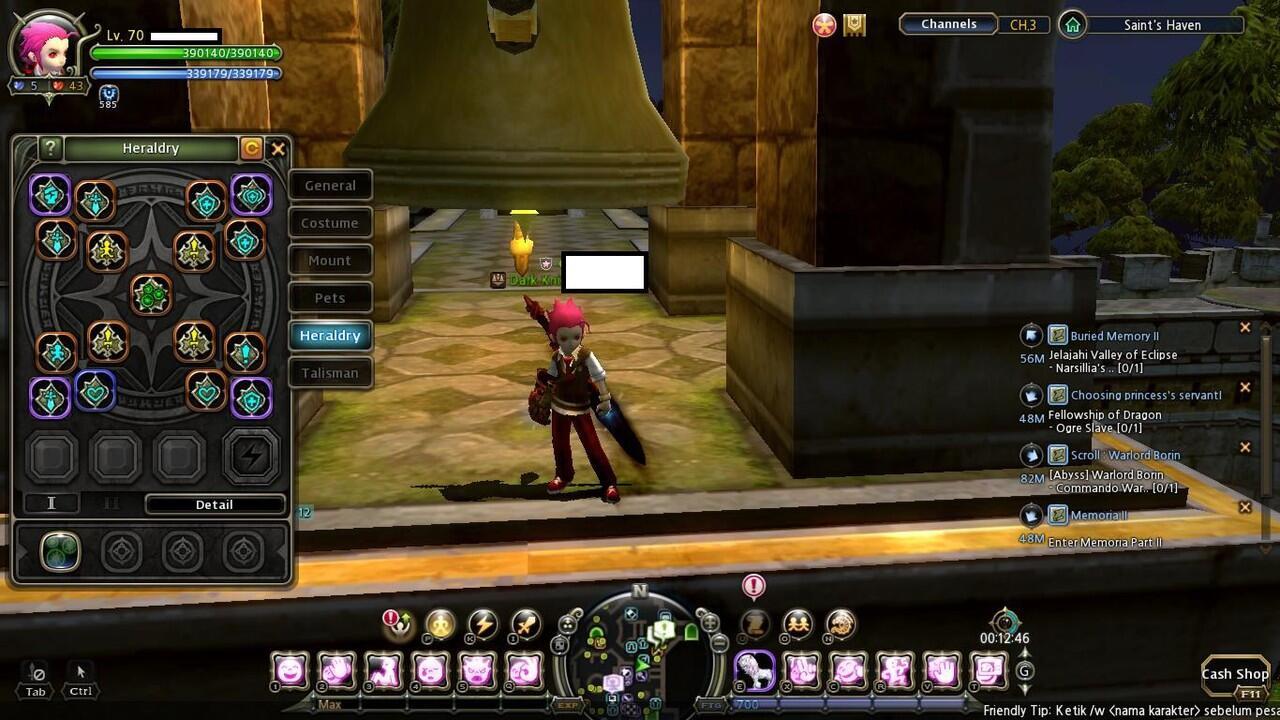 ID Dragon Nest Indonesia Lunar Knight ( LK ) Althea 70 W/ Dark Weapon