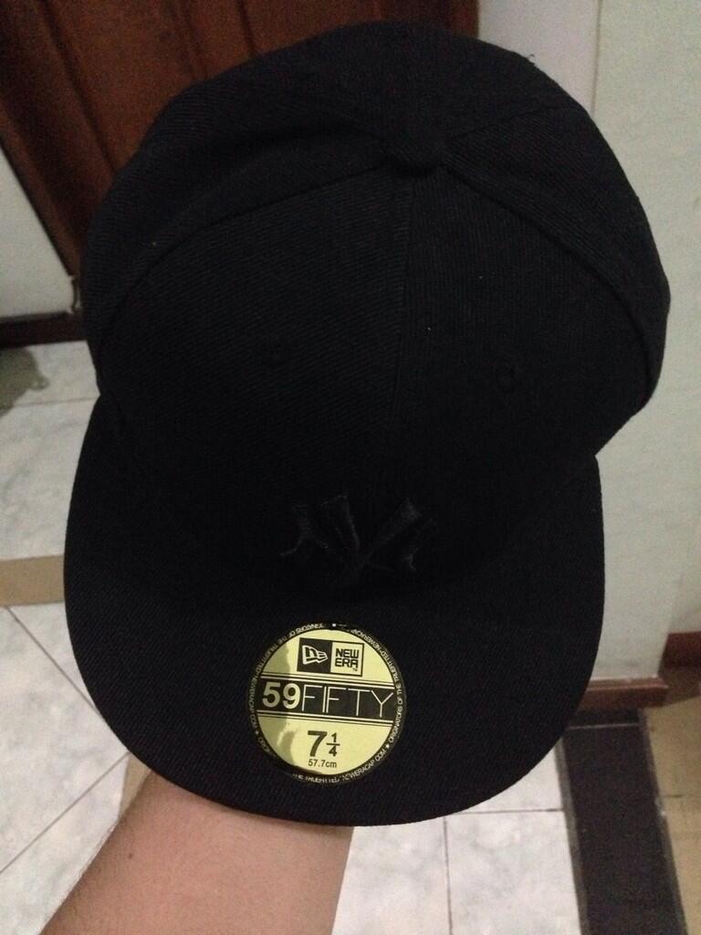 snapback fitted cap baseball new york yankees all black 7 1/4