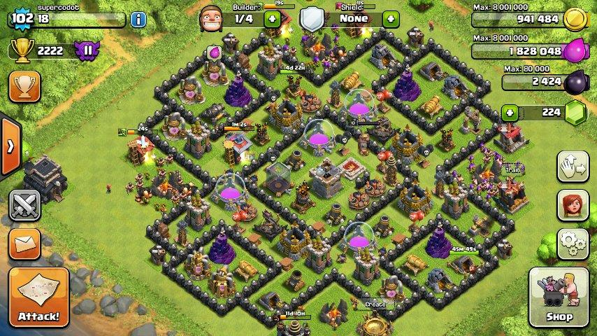 ID CLASH OF CLANS LEVEL 102 TOWNHALL 9 OBRALL SOB... JKT