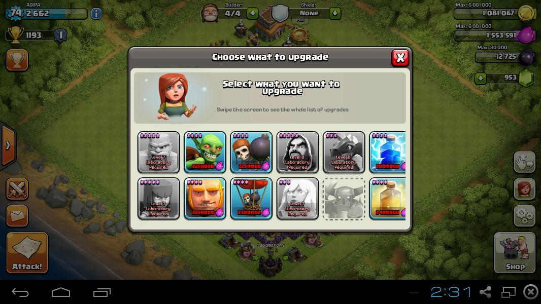 [WTS] ID CLASH OF CLANS ( CoC ) LVL 74 TH 8 BUILDER 4 GEMS 953