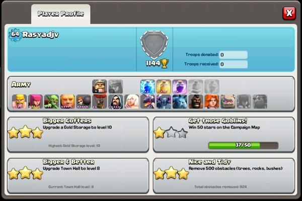 Jual Clash Of Clans lv64 th8