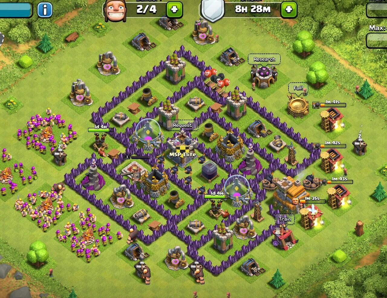 jual cepat Clash of clan TH7 defense max dan troops max