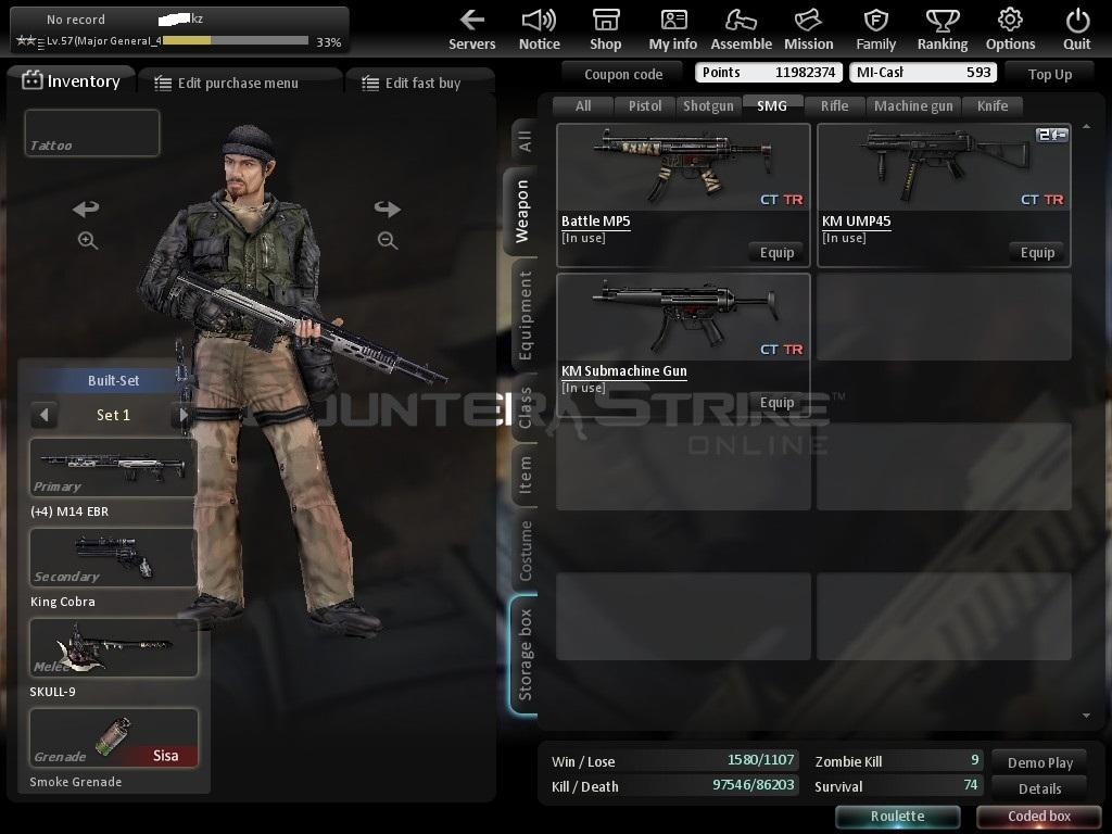 WTS Char CSO (Counter Strike Online) Level 57 DATA LENGKAP + Bonus Char CSO GRATIS!!