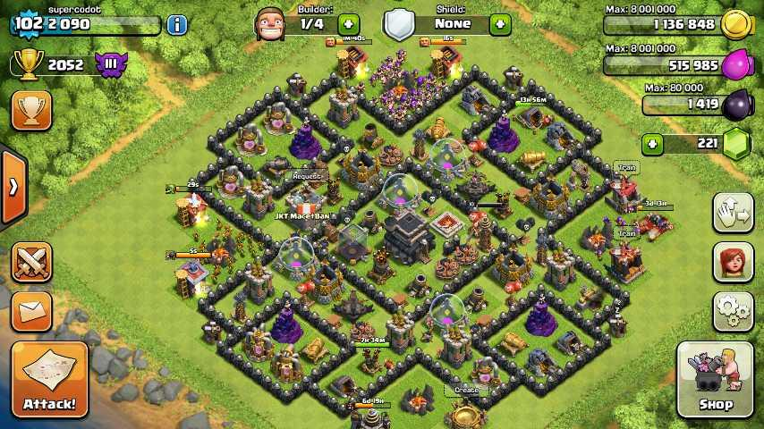 id COC / clash of clans TH9 level 102 cod JKT (+gmail)