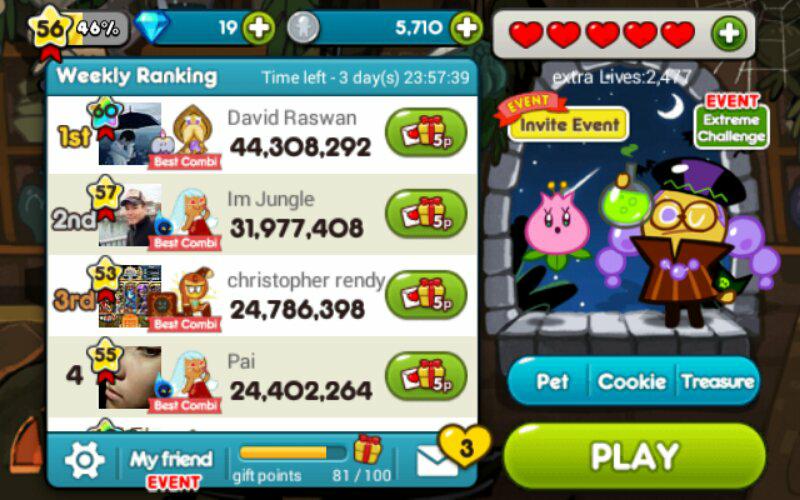 Dijual id cookie run lvl 56 max cookie, pet, dll