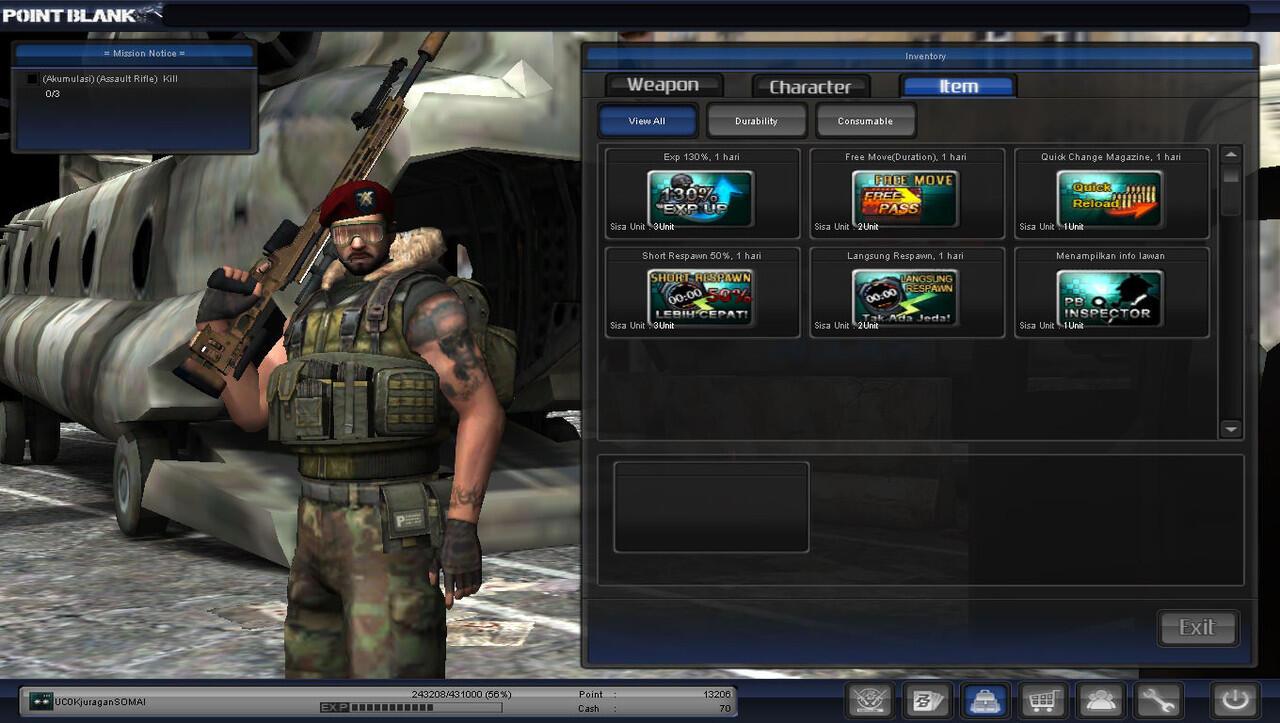 Jual Char PB Lt.col Murah + Clan Traine