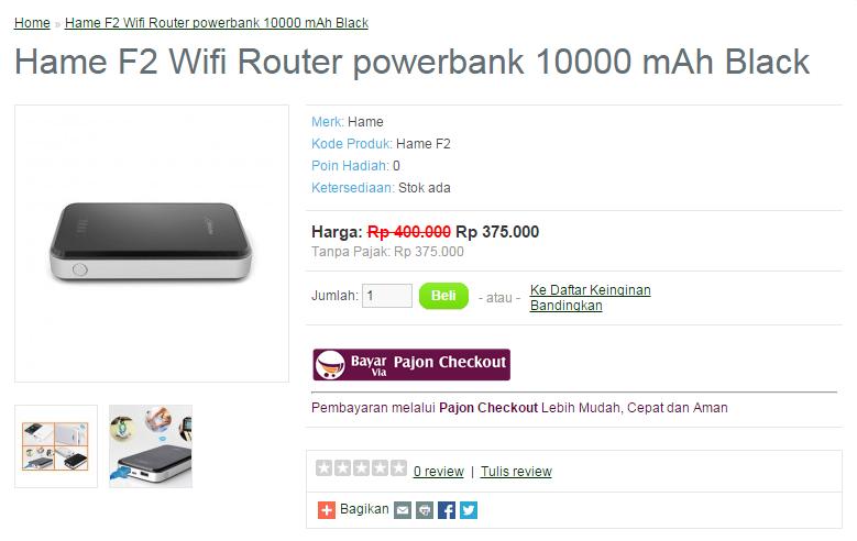 Jual Hame F2 Wifi Router powerbank 10000 mAh Black, Cepat, Murah!