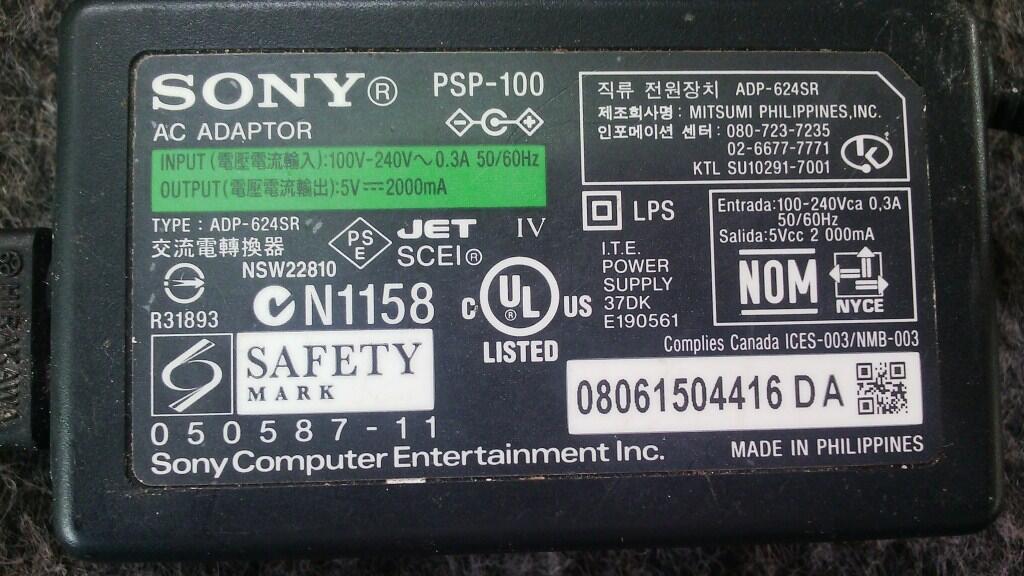 Adaptor PSP-100 SONY 5V 2000mA/2A bekas solo murah