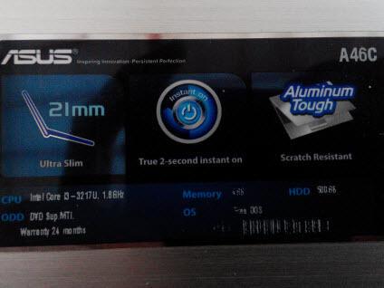 MALANG || ASUS A46C Core I3 Slim Elegant Design || RAM 4GB || Spec Mantab
