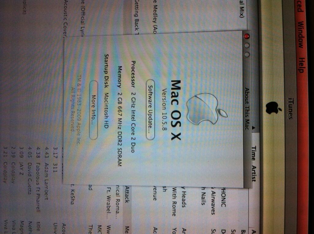 Jual Cepat Macbook White-Late 2009 Intel Core 2 Duo 2Ghz RAM 2Gb HD 120 Gb, mulus