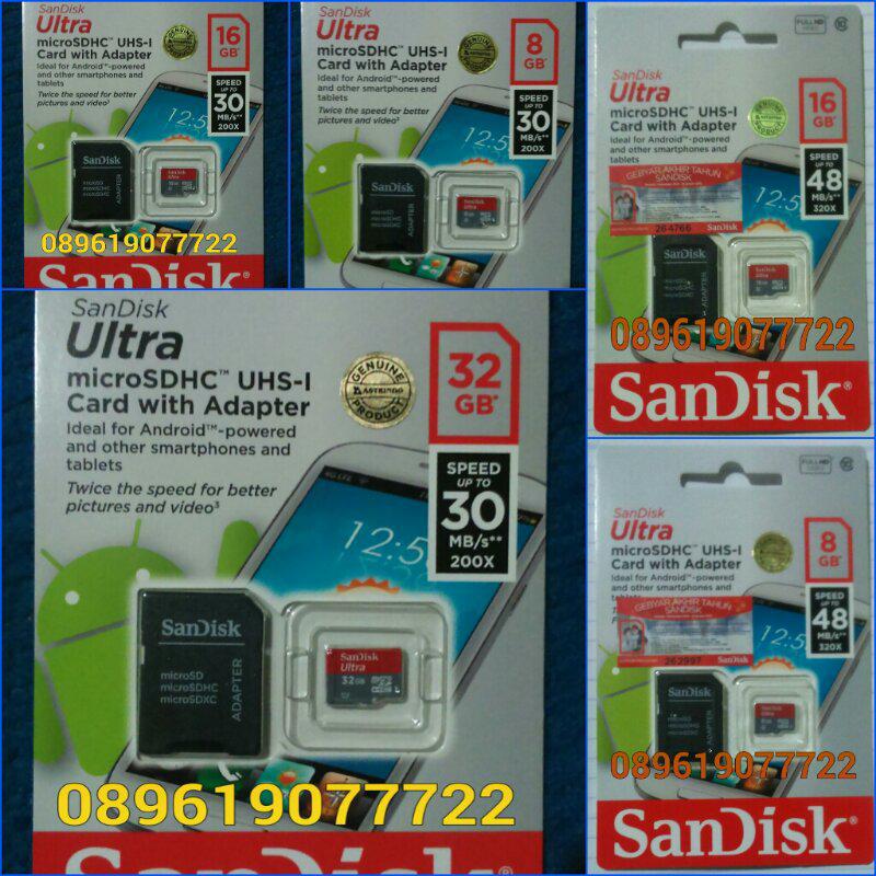 Microsd Sandisk Ultra 8,16,32gb Class10 30mb/s, 48mb/s - DIY, Kirim2 Oke