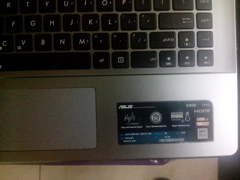 ASUS X450CA Slim Mulus masih garansi