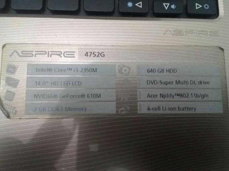 laptop murah Acer 4752g core i3 hdd 640gb geforce 610m-1gb