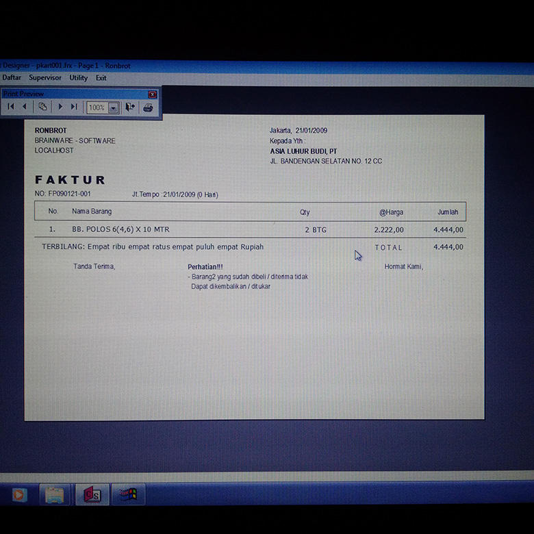 Program/ Software Invoicing (Faktur)