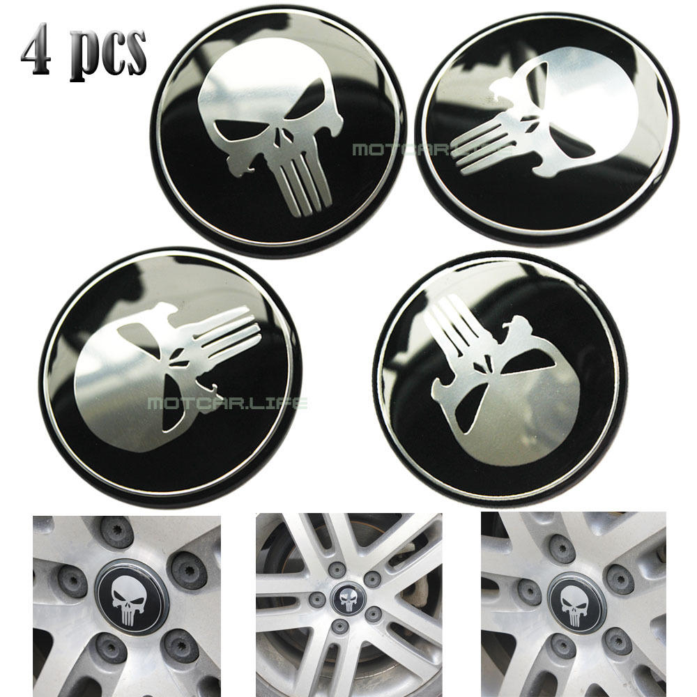 emblem tutup dop velg mobil logo the punisher 4 pcs diameter 6cm
