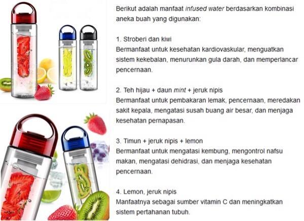 TRITAN WATER BOTTLE FRUIT INFUSER BOTOL MINUM KESEHATAN ALA KOREA