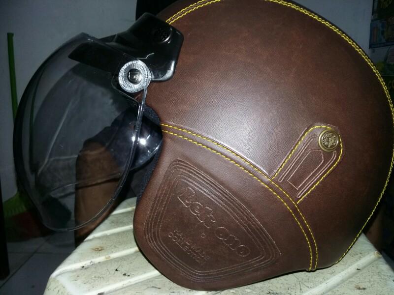 Helm Bogo Hand Made Keren Berlapis Kulit Warna Coklat