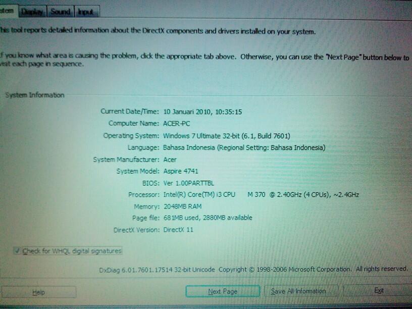Laptop Acer Aspire 4741 Mulus PES 2013 ok