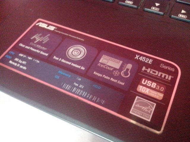Asus X452E Amd E1-2500 HDD 500GB Garansi masih panjang   Surabaya
