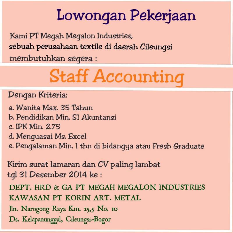 Lowongan Kerja accounting Cileungsi Bogor