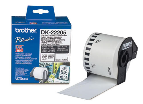 Brother Label Tape DK-22205 CONTINOUS LENGTH PAPER TAPE 62MM(30.48M LONG)